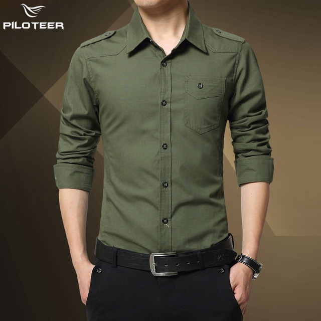 05a182c6f3481 Camisas Dos Homens do Estilo militar Camisas Camisa Masculina Sociais Hombre  Homens Camicia Camisa Manga Longa