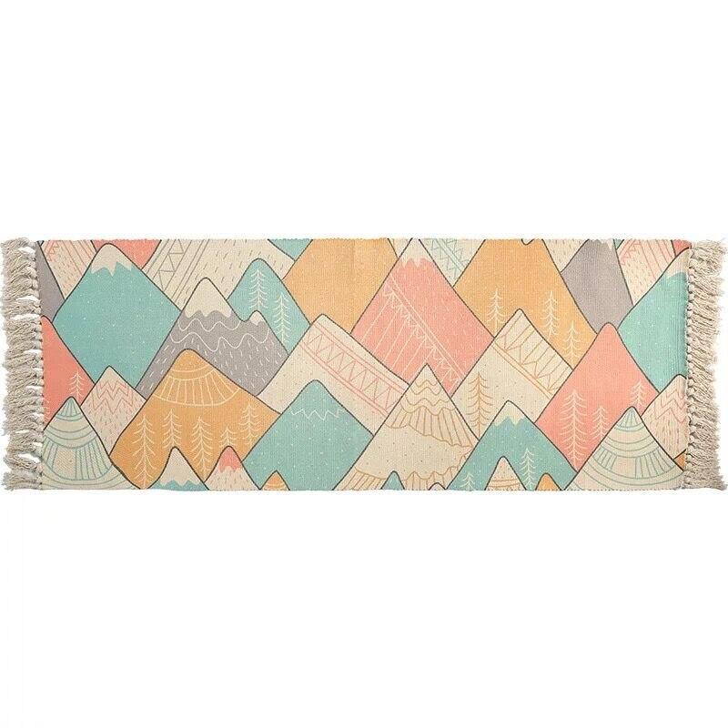Style japonais fait à la main chambre salon canapé coton armure coureur couverture moderne bande gland anti-dérapant tapis