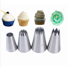 VOGVIGO 4pc Large Icing Piping Nozzles Cake Decorating Pastry Tip Stainless Steel Mouth Fondant Cream Baking Tools Accessories