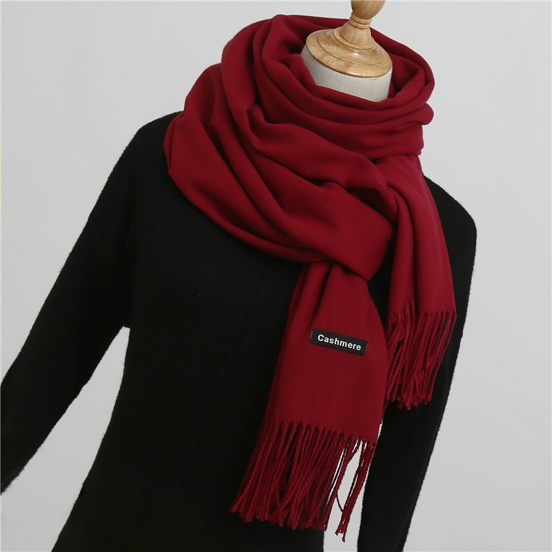 2019 Winter Scarf For Women Shawls And Wraps Fashion Solid Warmer Thick Cashmere Scarves Pashmina Lady Neck Head Stoles Bandana