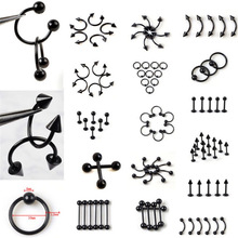 1PC Surgical Stainless Steel Black Eyebrow Nose Lip Labret Ear Ring Tongue Cartilage Body Piercing Jewelry Wholesale