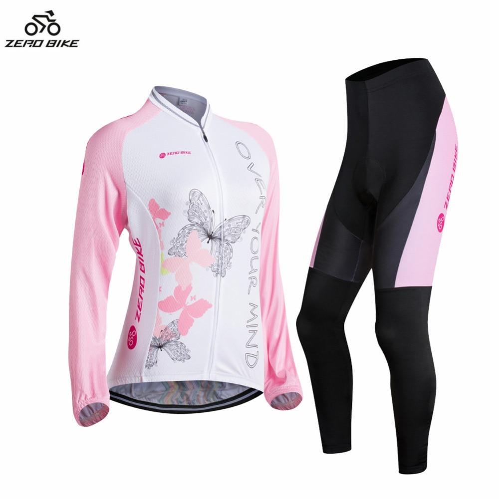 ФОТО ZERO BIKE 2017 Spring Autumn Women's Long Sleeve Polyester Full Zip Cycling Jersey 3D Padded Pants Cycling Set XY01