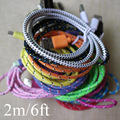 6Feet/2Meter Braided Rope Lace Micro USB Wire for Samsuang Galaxy S3 S4 Note2 4 HTC Sony Data Sync Charging Charger Cable Cords