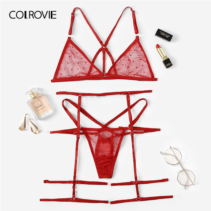 COLROVIE Red Harness Sheer Garter Lingerie Set Women Intimates 2019 Summer See Through Sexy Bra And Panties Underwear Set