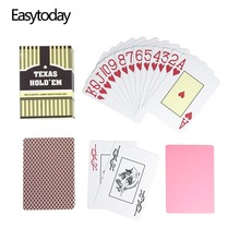 Easytoday 1Pcs/Set Waterproof Baccarat Texas Hold'em Plastic Frosting Poker Cards Playing Cards Green And Brown Board Games easytoday 1pcs set new classic poker baccarat texas holdem waterproof frosting plastic playing cards entertainment games