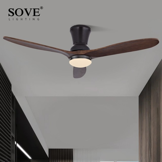 SOVE Nordic Modern LED Wooden Ceiling Fan Wood Ceiling