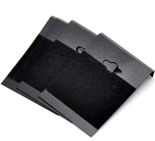 Free Shipping! Black Ear Hooks Earring Plastic Display Cards 6.2x4.5cm(2-1/2x1-3/4), 50PCs (B16649)