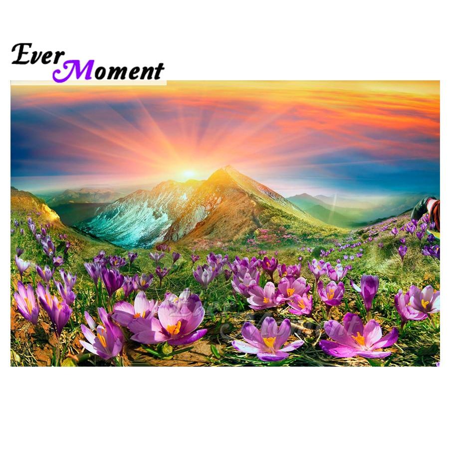 Ever Moment Diamond Painting Handmade Full Square Drill Mountain Sunshine Flower 5D DIY Hobby Art Diamond Embroidery ASF1605