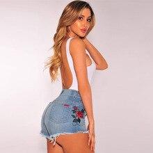 2017 Европа и соединенные Штаты новый ретро розы вышитые джинсовые шорты цветы мыть высокая талия прямые джинсовые шорты