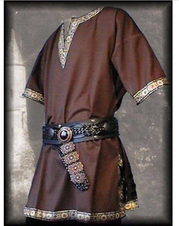 Medieval renaissance costume men's aristocratic coat aristocratic cavalry cosplay knight Halloween v neck T shirt costume