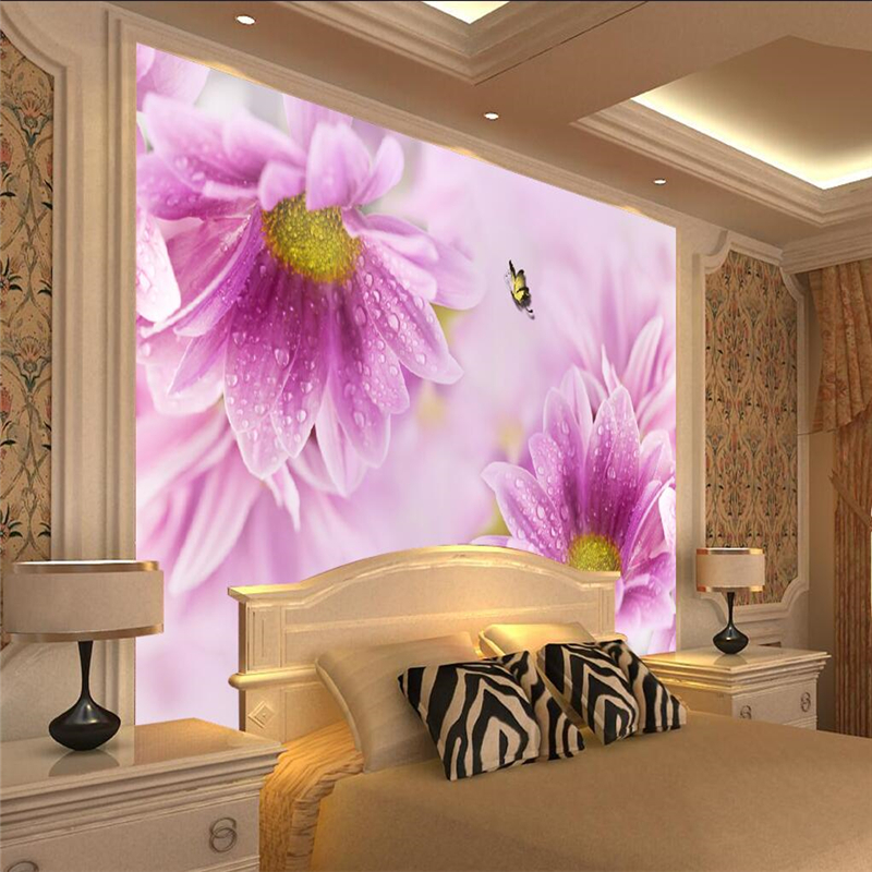 Us 8 85 41 Off Beibehang Custom Photo Wallpaper Wall Murals Wall Stickers Purple Little Daisy Dream Flowers Elegant Aesthetic Background Wall In