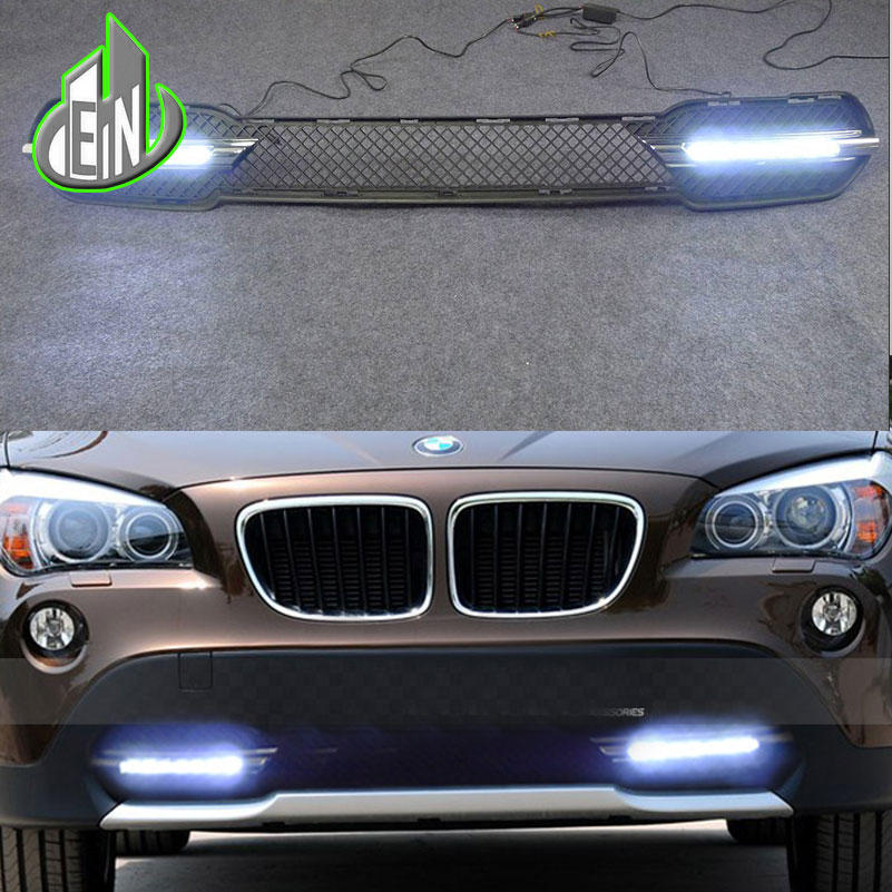 EN Car LED DRL Daytime Running Light 2011 2012 For BMW X1 E84 Daylight Fog Light Cover Auto Lamps With Car Bumper DRL nightlord auto drl daytime running light car led day driving lamp for bmw x5 e70 2011 2012
