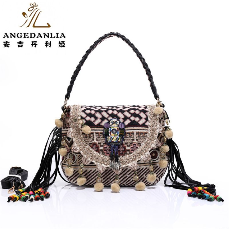 Bohemian shoulder bag BOHO Women cambric fabric handbag hippie tassels beading national Geometry embroidery ethnic shoulder bags 2016 summer national ethnic style embroidery bohemia design tassel beads lady s handbag meessenger bohemian shoulder bag page 2