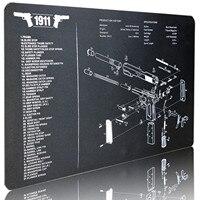 Waterdichte Gun Cleaning Rubber Mat Voor 1911 Pistol Armorers Wapensmid Demontage Tool Met Onderdelen Lijst Wapen Patches Bench Pads