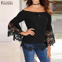 ZANZEA Fashion Women Blouses Off Shoulder Shirts 2016 Sexy Slash Neck Flare Sleeve Patchwork Lace Crochet