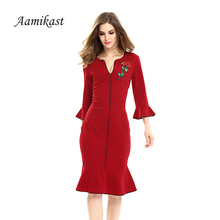 Aamikast Vintage Appliques Women Dress 2019 Autumn Sexy Elegant V neck Flare Sleeve Dresses Ruffle Hem Business Party Vestidos