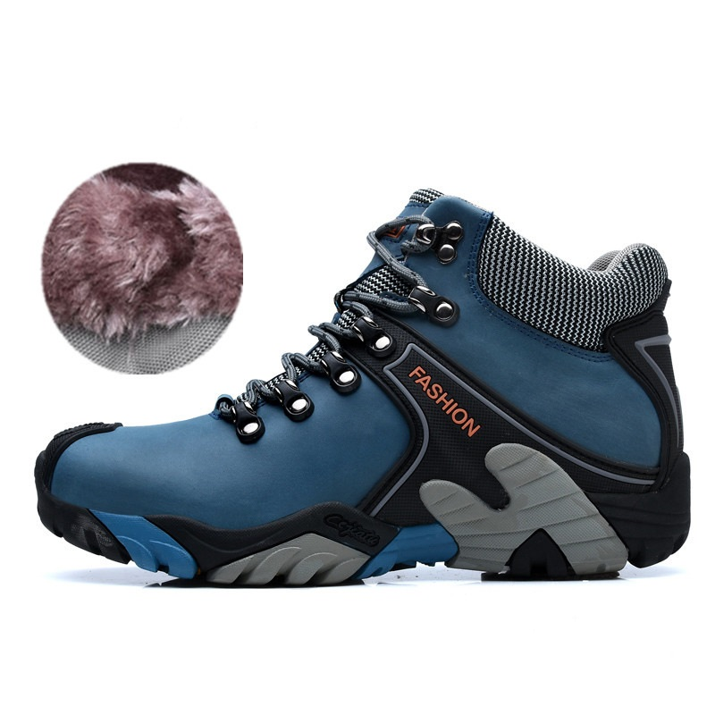 Genuine Leather Warm Winter Running Shoes Men High Top Plush Fur Outdoor Sport Running Shoes Men Non Slip Running Sneakers Men mulinsen winter men s sports hiking shoes black blue brown sport shoes inside plush wear non slip outdoor sneaker 260113