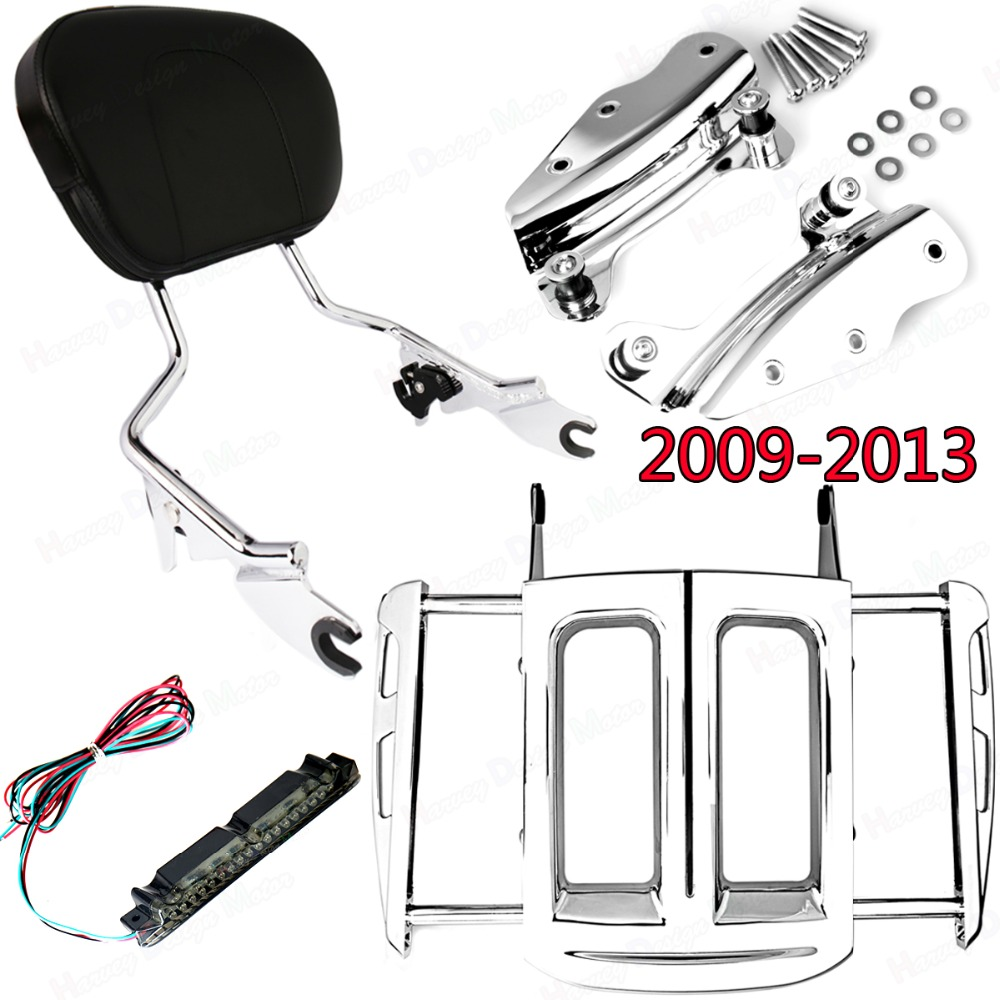 цены Chrome 4Point Hardware Kit&Adjustable Two-Up Luggage Rack&Sissy Bar Backrest Harley Street Glide Road King FLHX FLHR 2009-2013