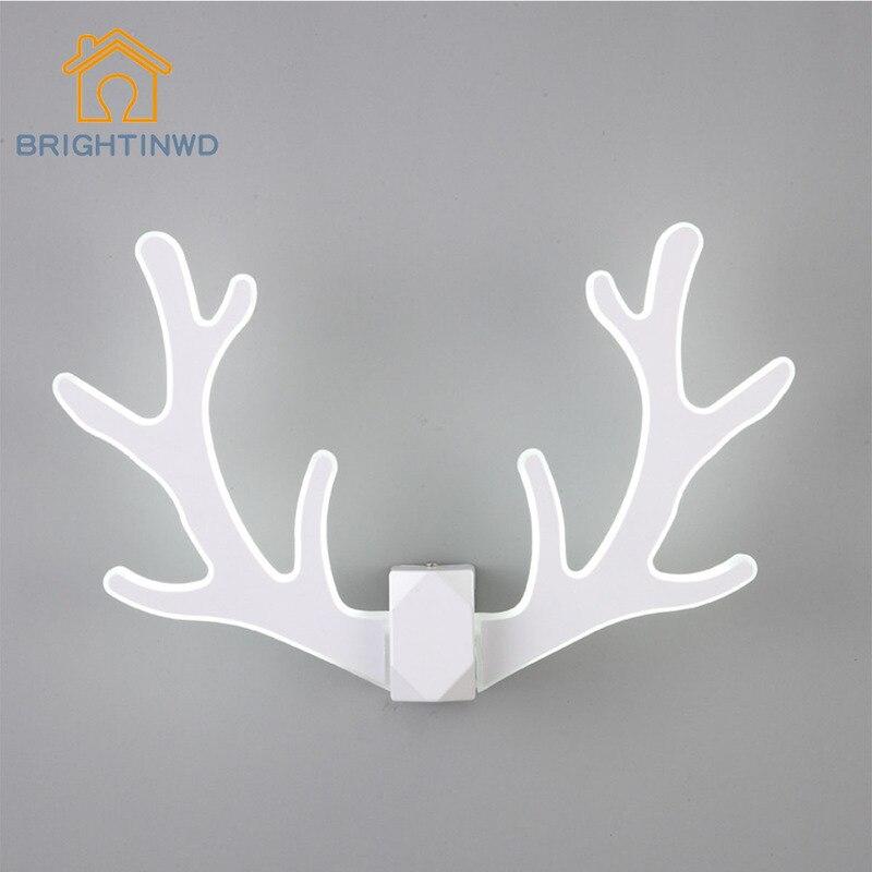 BRIGHTINWD 2018 New Acrylic LED Wall Lights Creative Antlers Iron Fashion Bedside Lights Aisle Wall Lamp Bedroom Lamp Art стоимость