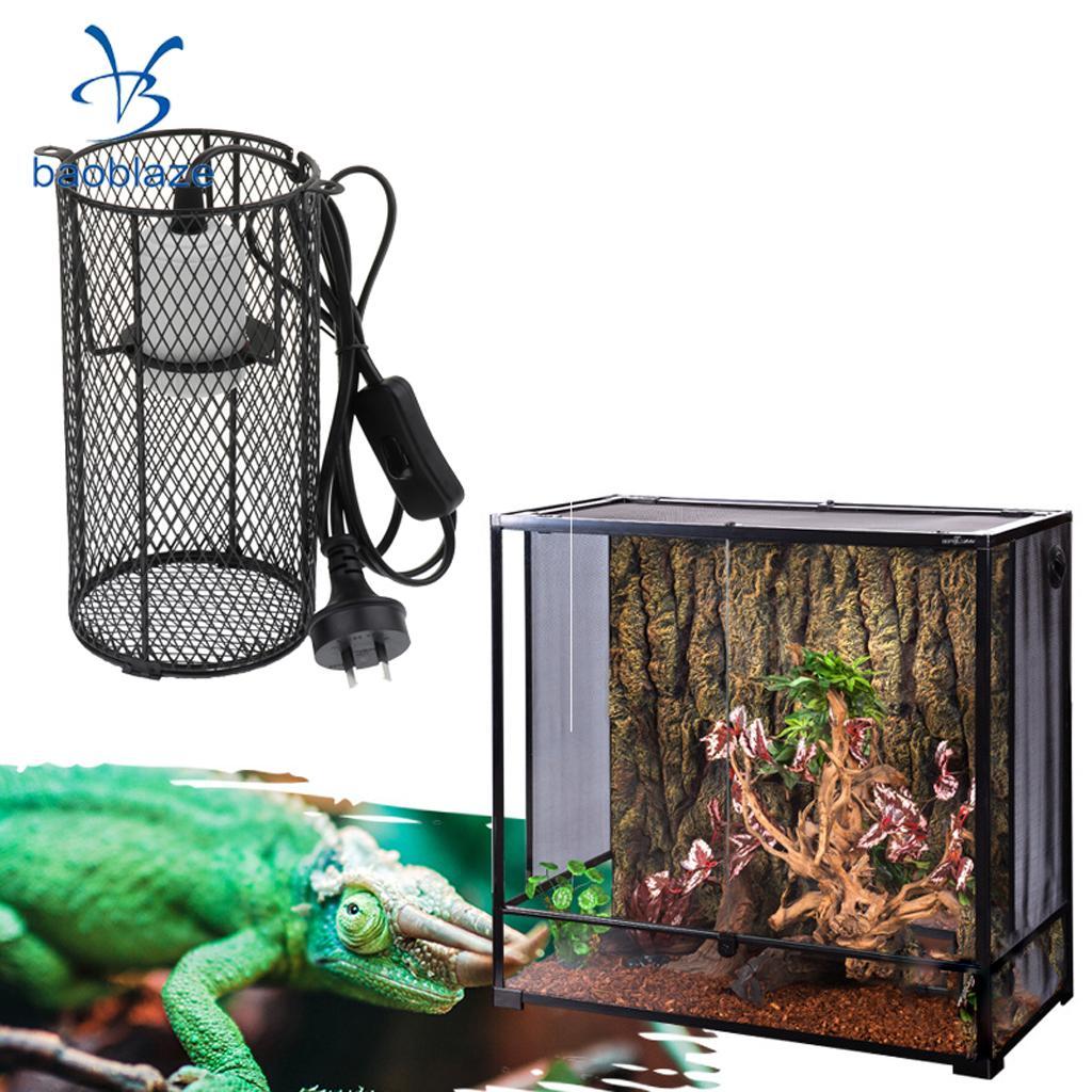 2 Pcs Black Reptile Anti-scald Heating Lamp Shade Light Holder Bulb E27 AU Plug