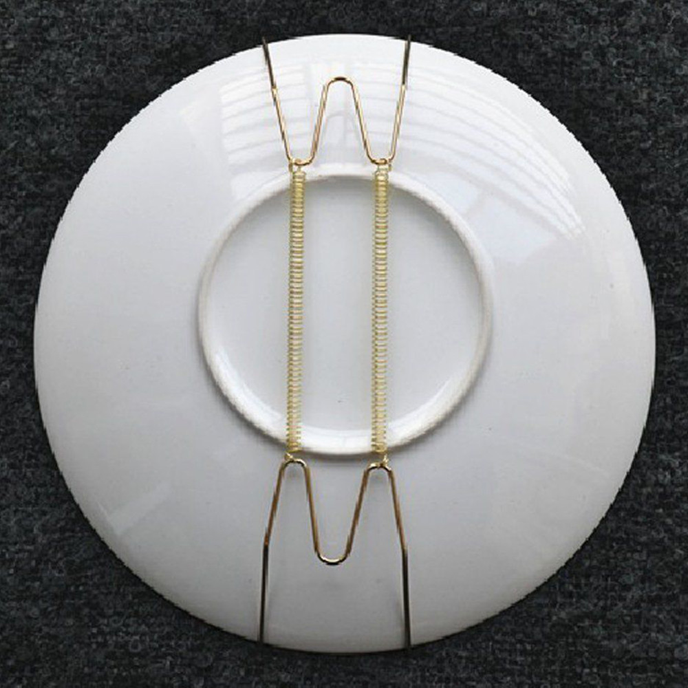 20 PCS 8-Inch Wall Display 7.5\  to 9.5\  Plate Dish Hangers Holder & 1 Pcs Wall Display Metal Plates Hanger W Shape Dish Spring Holder ...