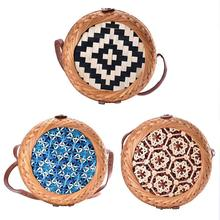 Colorful Pattern Hand-woven Round Rattan Beach Single-shoulder Cross-body Bags Natural Storage Bag For Women