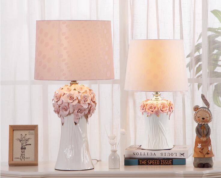 Slaapkamer Lamp Roze : Roze bloemen tafel lampen prinses bruiloft keramische doek licht