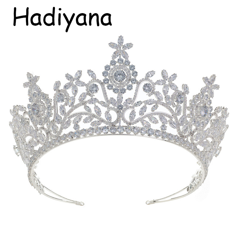 все цены на Hadiyana Hot Sale Wedding Bride Bridesmaid Tiara Crown Headband New Fashion Cube Zinconia Party Jewelry Crown HG6074
