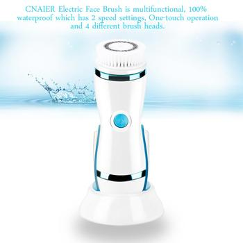 Face Massage Brush 2 Speeds Setting With 4 Skin Cleaning Brush Head Blackhead Acne Removal Facial Cleanser Machine Beauty Spa