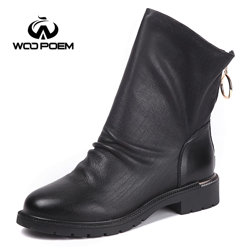 WooPoem Brand Winter Shoes Woman Genuine Leather Boots Low Flat Heel Ankle Boots Concise Motorcycle Boots Women Short Boots 1196 woopoem brand winter shoes woman genuine leather boots low flat heel ankle boots rivet motorcycle boots retro women boots 510 l1