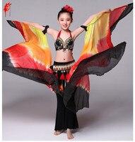 Girls belly dance props black vs yellow veil for kids belly dance semi circle veil 200*115 cm veil girls belly dance 1pair veil