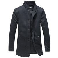 Autumn Winter Wool Coat Men Casual Solid Overcoat Stand Collar Single Breasted Long Jacket Mens Trench Coat Male Windbreaker 5XL