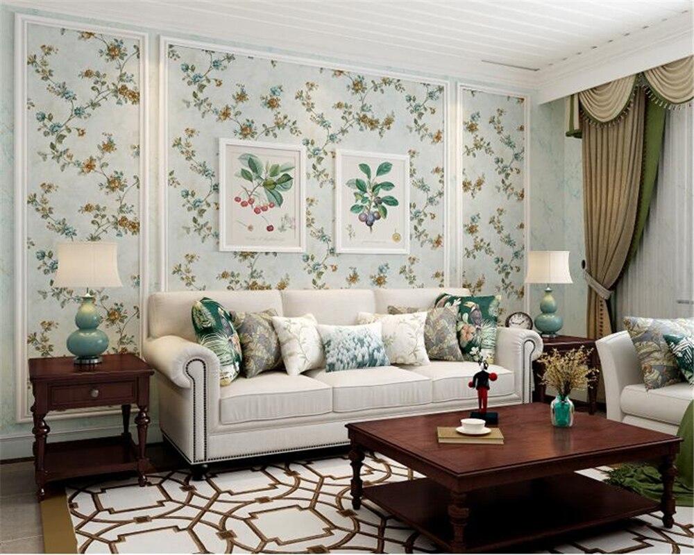 beibehang vintage american pastoral tecido nao tecido papel de parede floral papel de parede papel de