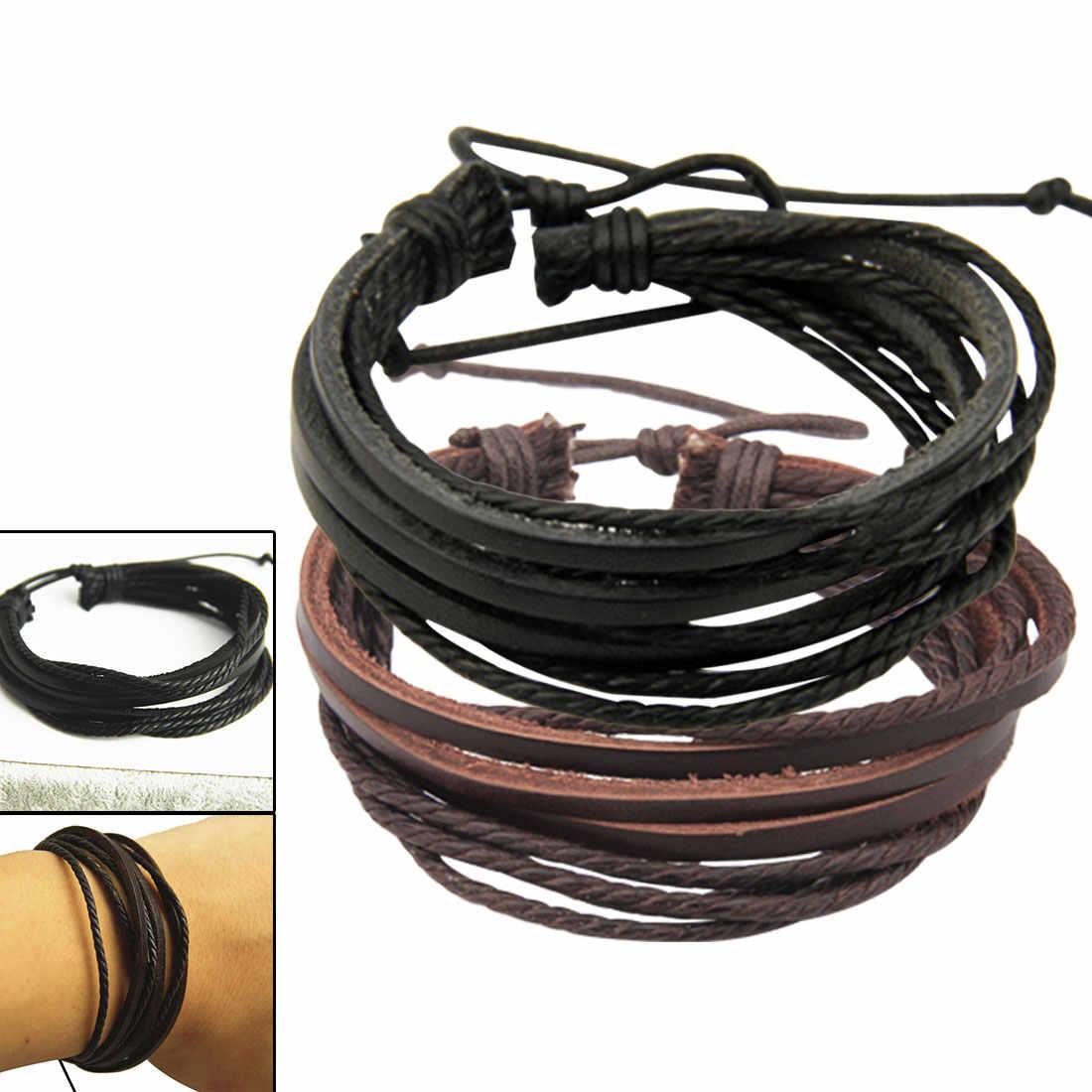 2018 новый тренд многослойный ручной веревка повседневный Дикий мужской кожаный браслет мода ветер мужчины и женщины пара браслет