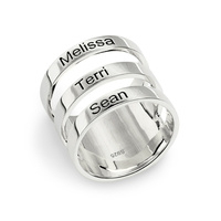 Engraved Three Names Ring Sterling Silver Triple Name Ring For Mother