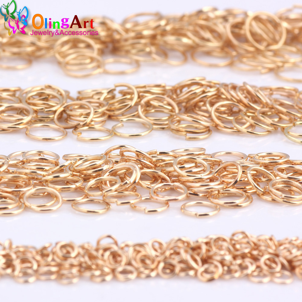 OlingArt KC Gold plating Jump Ring 3mm/4mm/5mm/6mm/7mm/8mm link loop Mixed size DIY Jewelry making Connector Wire diameter 0.7MM