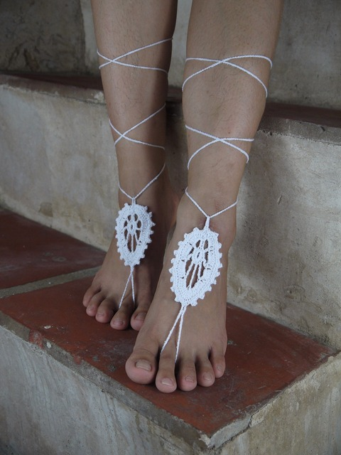 Wedding White Crochet Barefoot Sandals Leaves Sexy Feet Anklet Yoga Foot Thongs Nude Shoes Lace Sandals Lolita X937