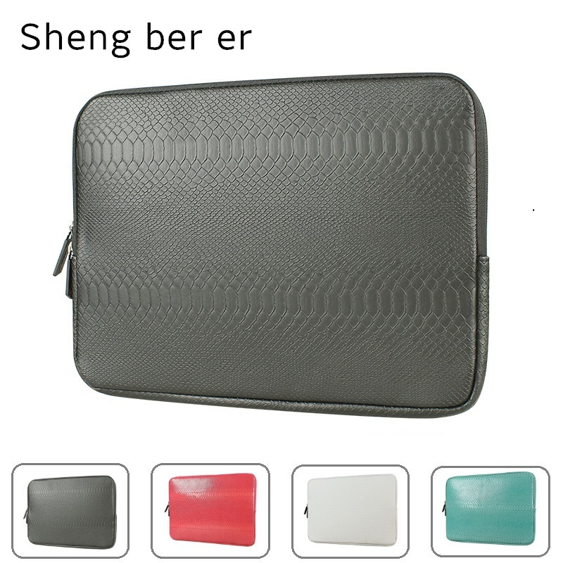 2019 Brand Sheng Bei Er Snake Leather Sleeve Case For Laptop 12,13,14,15,15.6 Inch, Bag For MacBook Air Pro 13.3