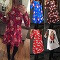 Женская Печатных Платье Хэллоуин Костюмы Рождество Санта-Клаус Косплей Одежда спектакли