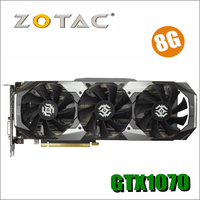 Оригинал ZOTAC видеокарта GPU GTX 1070 8 ГБ 256Bit GDDR5 Графика карты карта nVIDIA GeForce GTX1070 8GD5 8 г 8pin 750ti 750