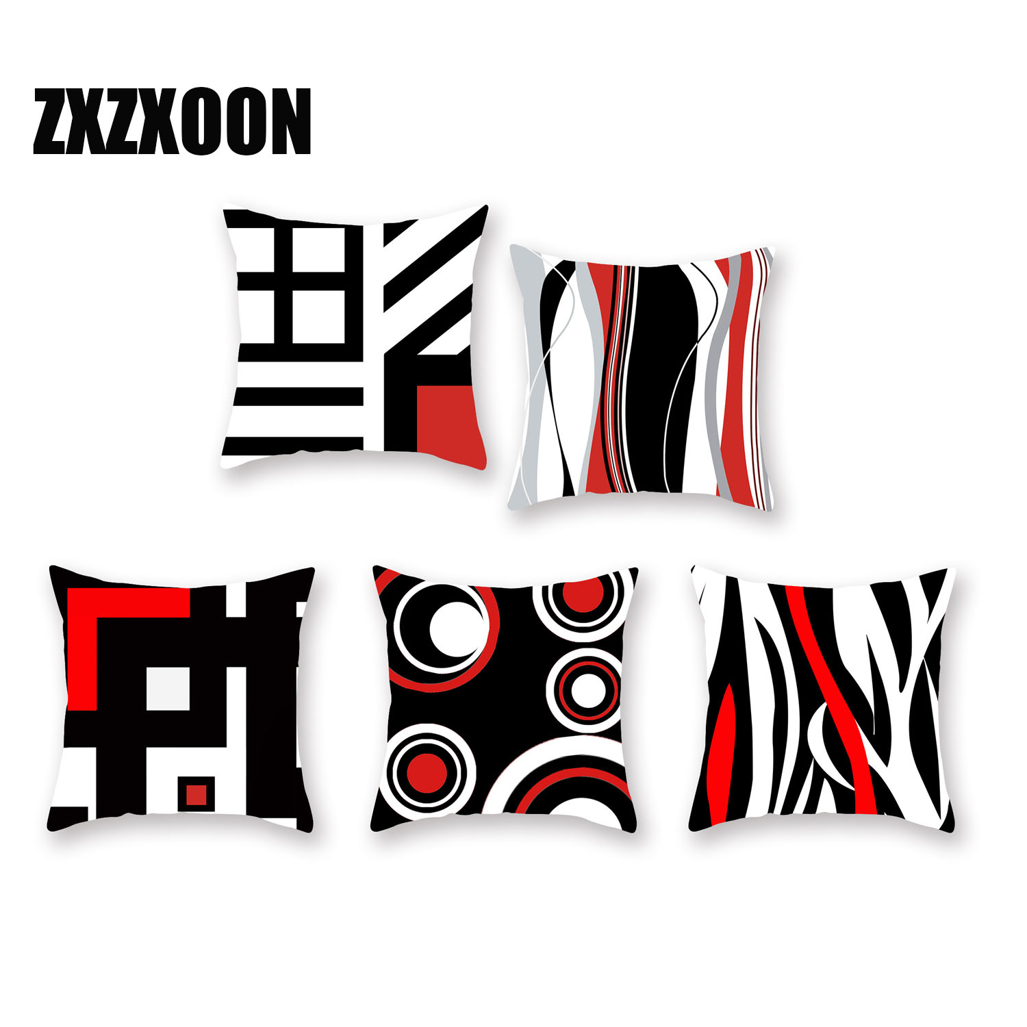 Black And Red Geometric Pattern Polyester Throw Pillow Living Room Cushion Cover Car Home Decoration Sofa Decorative Pillowcase