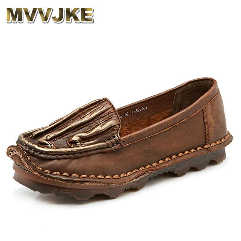 MVVJKE Flat Shoes Women Loafers Cow Muscle Solid Slip On Casual Shoes Genuine Leather Handmade Ladies Flats Brands Shoes new vintage genuine cow leather women flats fashion round toe slip on women leather loafers ladies casual flat shoes size 35 43