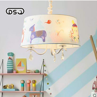 DSQ Pastoral Nordic Boys And Girls Bedroom Book Room Bedroom Crystal Chandelier Children Chandelier
