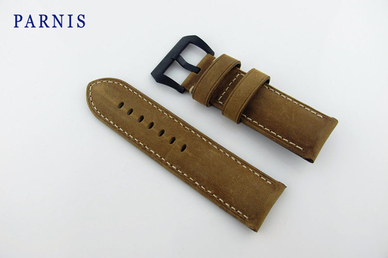 26mm Men's <font><b>Watch</b></font> Watchbands Parnis Brand <font><b>Watch</b></font> Accessories Scrub Genuine Leather Women's <font><b>Watch</b></font> <font><b>Strap</b></font> with Black <font><b>PVD</b></font> Buckle image