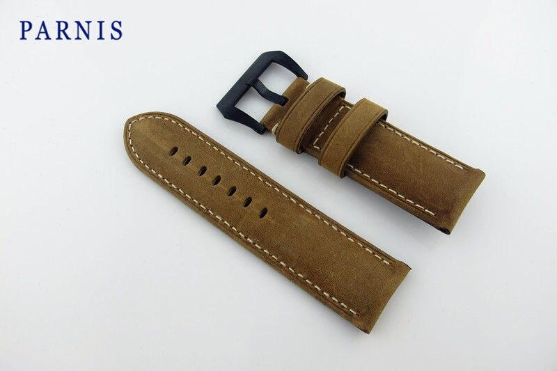 26mm montre pour hommes bracelets de montre Parnis marque montre accessoires gommage en cuir véritable montre pour femme bracelet avec boucle PVD noir