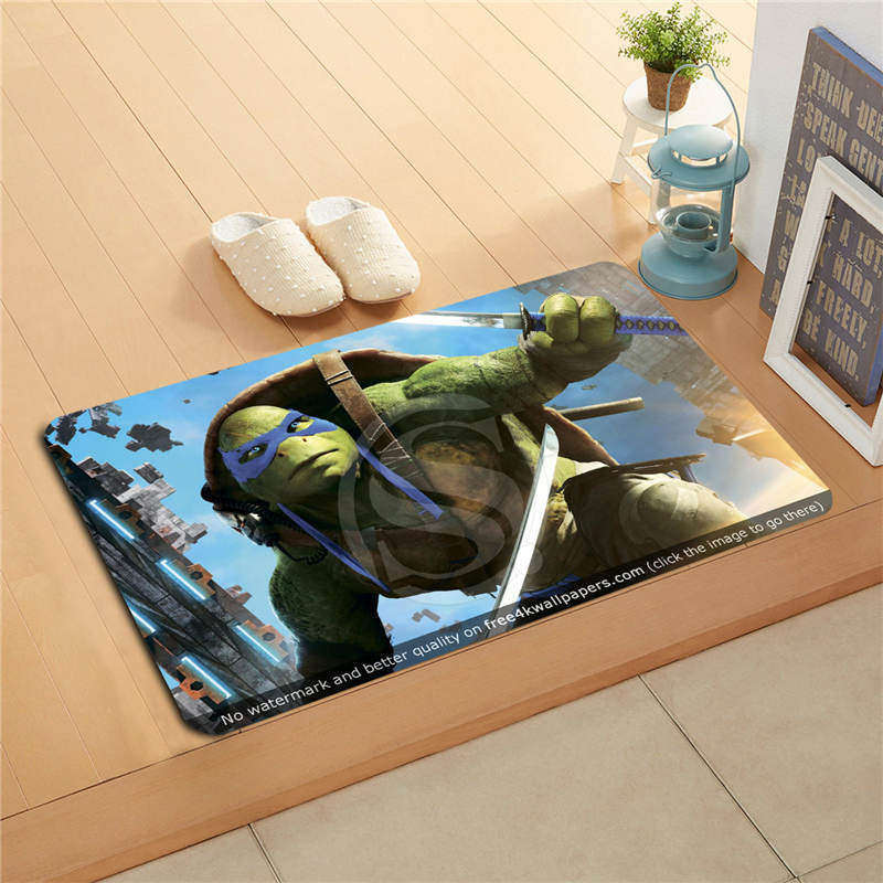 W530L11 Custom leonardo teenage mutant ninja Watercolor Painting Doormat Home Decor Door mat Floor Mat Bath Mats foot pad #F11