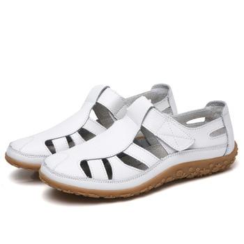4b819bbf Sandalias de gladiador de mujer, zapatos de verano de cuero dividido, Sandalias  planas con agujeros para mujer, sandalias de playa para mujer