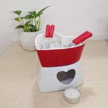 Красное сердце форма тонкий фарфоровый набор для шоколадного фондю, Красный Романтический сыр плавления фондю
