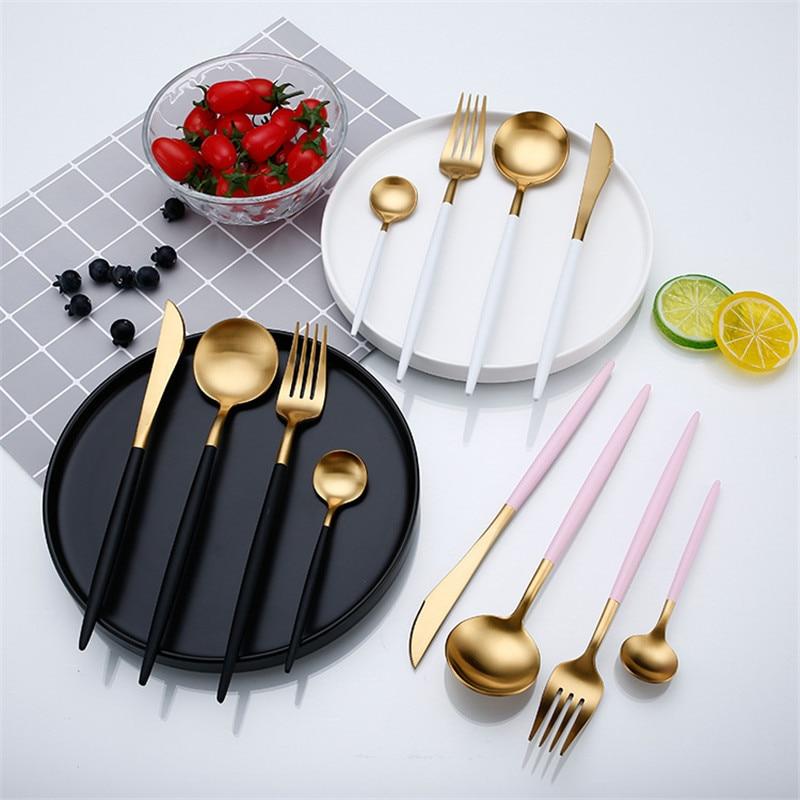 Rose Gold Geschirr Set Edelstahl Besteck Westlichen Lebensmittel Geschirr Luxus Gabel Teelöffel Messer Besteck Set Drop verschiffen