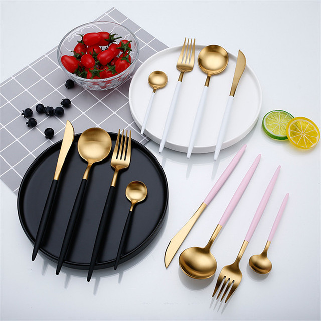 Rose Gold Tableware Set Stainless Steel Cutlery Set Western Food Tableware Luxury Fork Teaspoon Knife Cutlery Set fork spoon